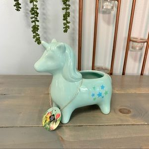 IJI Teal Ceramic Unicorn Planter with Star Accents